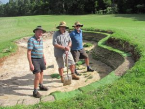 John Hay Rob Bailo and Tom Kennedy constructing revetted bunker on the new 6th