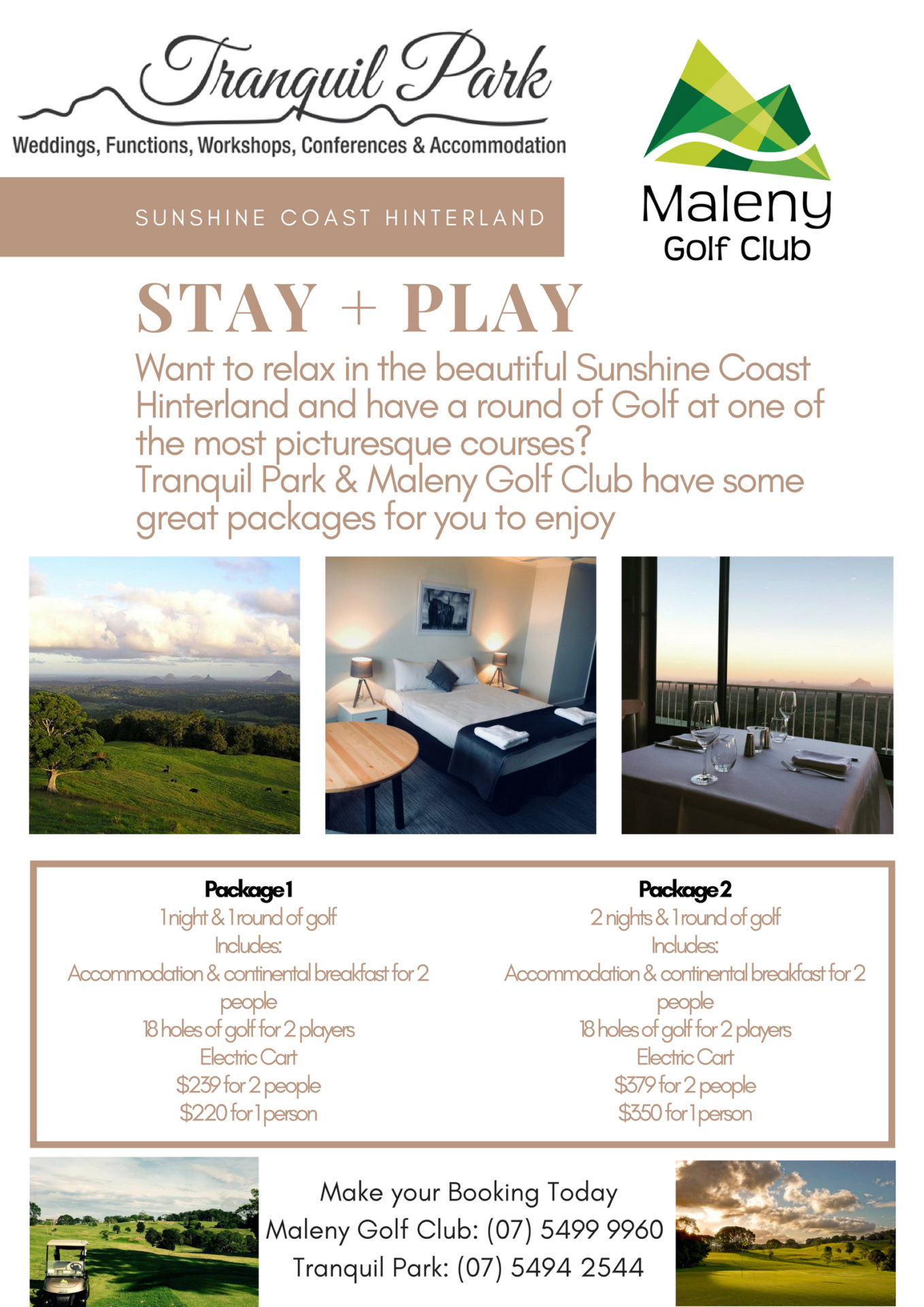 Stay & Play Package - Tranquil Park